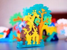 "Wooden Puzzle ""Giraffes"". Handmade puzzle game that develops motor skills. Kids toy. Wooden ecofriendly toys for children.. $10.00, via Etsy."