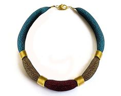 Burgundy Gold Turquoise mesh tube unique necklace  by tamiperetz