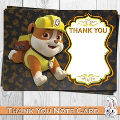 PAW Patrol  Rubble  Thank you card  Birthday от FunnyBunnyStore