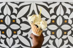 Nutty Squirrel - pistachio, dark chocolate and rice pudding gelato in a waffle cone