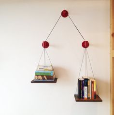 Red Balance Bookshelf Limited Edition by cushdesignstudio on Etsy, $175.00