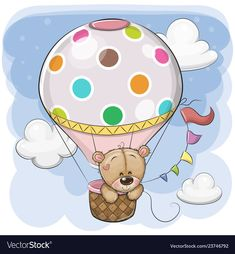 Cute teddy bear is flying on a hot air balloon Vector Image , Tatty Teddy, Painting For Kids, Art For Kids, Hot Air Balloon Cartoon, Animals For Kids, Cute Animals, Unicorn Outline, Airplane Drawing, Baby Icon