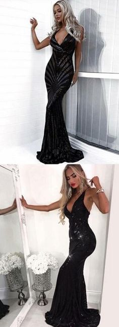 Sequin Prom Dress,Mermaid Deep V-Neck Prom Dress,Backless Sweep