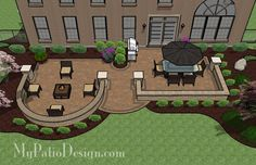 I think we could alter this to accommodate our future swim spa. With tumbled block seating walls framing an outdoor dining and fire pit areas, this Beautiful Backyard Patio Design with Seat Walls is fun and functional to use. Small Backyard Patio, Backyard Patio Designs, Backyard Playground, Backyard Landscaping, Patio Ideas, Pavers Ideas, Modern Backyard, Backyard Ideas, Patio Blocks