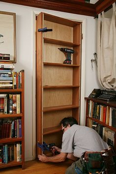 DIY Tutorial for hidden door bookcase. Can put valuables behind there  not sure if I should put it in crafty, but there's part of that loves the idea of having a secret room :D I'd make it into a little reading nook