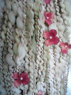 Sage and Pearls  Handspun Art Yarn by EnchantedYarn on Etsy, $40.00 - Flower Yarn - Fiber Art - Pearl Yarn - Bulky Yarn - ooak yarn - superwash merino wool yarn - Hand Dyed Yarn