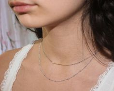 SALE Subtle glow double silver chain necklace with by GojoDesign, $32.00