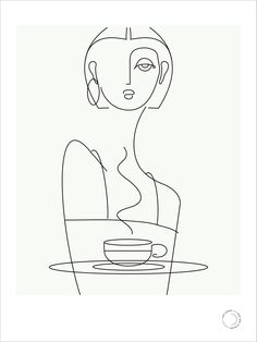 café series : coffee (blackline) — that girl in black