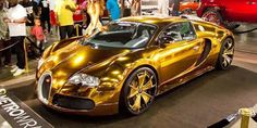 Forgiato 2.0 - F2.02 on the Bugatti Veyron in custom Gold Chrome Wrap