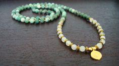 China Jade & Moonstone Prosperity Mala - Necklace and Wrap Bracelet - Yoga, Buddhist, Prayer Beads - Free Shipping Etsy