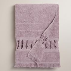 Woven in Portugal of absorbent cotton, our lavender terry cloth bath towel features an open weave border with soft fringe along the bottom.