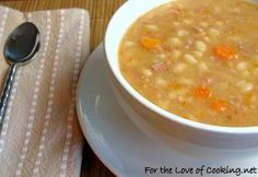 White Bean and Ham Soup (could try it with turkey bacon, cooked in the pot first, to get flavor without the ham)