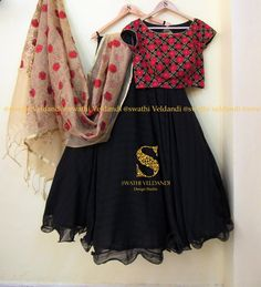 Beautiful black color skirt and black red color combination crop top with jute dupatta.Call / watsapp for details . Half Saree Designs, Lehenga Designs, Blouse Designs, Indian Wedding Fashion, Indian Fashion, Indian Attire, Indian Wear, Indian Dresses, Indian Outfits