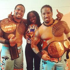 New WWE Tag Team Champions The Usos and Naomi last night