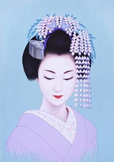 Ichiro TSURUTA, Japan Japanese woman with wisteria hat illustration #lilac