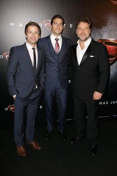 """Director Zack Snyder, Henry Cavill and Russell Crowe arrive at the """"Man Of Steel"""" Australian premiere on June 24, 2013 in Sydney, Australia."""