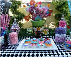 "candy tables for parties | This Alice in Wonderland dessert table screams ""Eat Me""! Styled by ..."