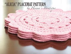 ~~~~ Pattern only, not a finished product ~~~~ This is a PDF pattern for ALICIA Placemats. { Skill Level } EASY ~ requires some experience { Dimensions of the Placemats } The placemats you can create by following this pattern will be about 15.5 (39.5 cm) in diameter each. { The