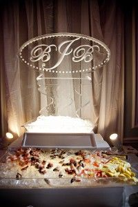Monogram Ice Carving For Seafood Station