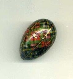 Tartanware THIMBLE Case HOLDER, Wood Egg Shape -Genuine MAUCHLINE - Victorian, via Etsy.