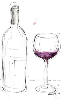 Wine Bottle & glass Art Drawing __[Via Etsy by LyonRoad] #cPurples
