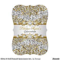 Shop Glitter Gold Damask Quinceanera Invite created by Zizzago. Quinceanera Invitations, Birthday Party Invitations, Create Your Own Invitations, Zazzle Invitations, White Envelopes, Paper Design, Gold Glitter, Damask, Invite