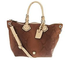 V Couture Penelope Snake Print Tote with Removable Strap