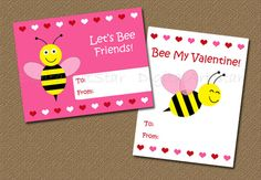 Printable Valentine's Day Cards for Kids - DIY Bumble Bee Cards - Bee My Valentine. $5.00, via Etsy.