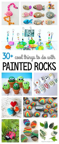 Over 30 Cool Ways to Use Painted Rocks (and unique and interesting ways to paint rocks)! Including animal rock crafts, DIY rock jewelry, inspirational rock painting, pet rocks, and more!