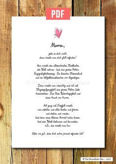 *Personalisierter Druck - süße Geschenkidee zum Muttertag, Geburtstag oder als herzliches Dankeschön (Selbstdruck-Version/PDF-Datei)*   Ihr seid ganz spät dran und braucht noch eine blitzschnelle...