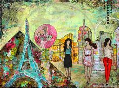 """Las Vegas- """"3 ladies visiting Las Vegas, enjoying the sunny warm weather, the bright lights and the energizing music."""" #art by #JanelleNichol"""