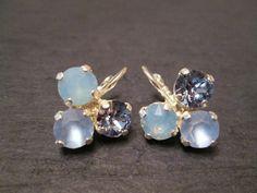 Swarovski Blue Crystal Earrings/Bridesmaid Earrings /Swarovski Earrings/Bridesmaid Jewelry/ Mother of the Bride/Light Sapphire Earrings by KVEClassicStatements on Etsy https://www.etsy.com/uk/listing/248024179/swarovski-blue-crystal