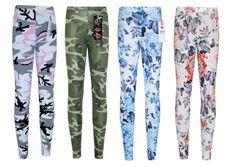 Girls-Camouflage-Floral-Print-Legging-Kids-Full-Length-Stretchy-Leggings-7-13-Y