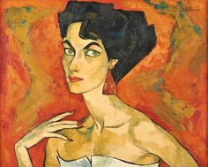 Oswaldo Guayasamín (Ecuadorian, 1919–1999), Portrait of Mary Waller, oil on canvas, 80 x 100 cm. (31.5 x 39.4 in.)