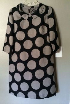MARIMEKKO Lt Virgin Wool Grey Black Collared Dress Sz 36 Sm #Marimekko #Shift #Casual
