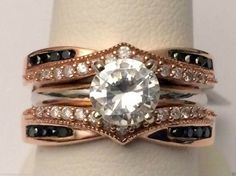 10kt Rose Gold Prong Set Solitaire Enhancer White & Black Diamond Ring Guard Wrap (0.50ct. tw) by RG&D... #gold #diamonds #ringguard #wrap #enhancer #fashion #jewelery #love #gift #ringjacket #engagement #wedding #bridal #engaged #whitegold #yellowgold #online #shopping #jewelry #pintrest #follow #richmondgoldanddiamonds