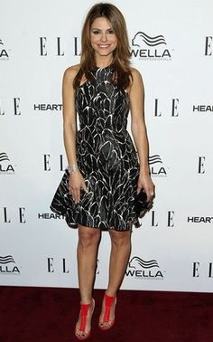 Marie Menounos wearing an M.C.L clutch to ELLE's Womne in Television event, 2013
