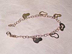 Dainty Light Sterling Silver 925 Heart Charm Bracelet, Cute! #Unbranded #Chain