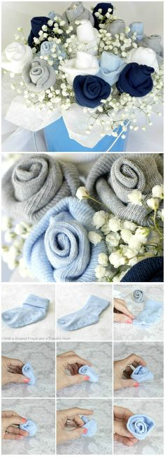 Baby Socks Flower Bouquet Tutorial ~ A bouquet of baby sock roses is a cute way to present them to an expecting mom... Use them to create a corsage, a gift topper or fill a small bucket or flower pot with a bouquet.