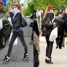 Leave it up to Gisele to make a pair of hideous shoes like wedge sneakers look adorable.