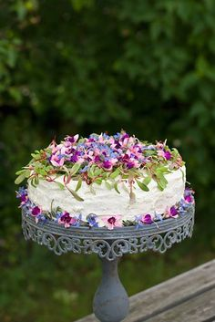 Ana Rosa - simply gorgeous, I love this idea of fresh edible flowers for cakes and food.