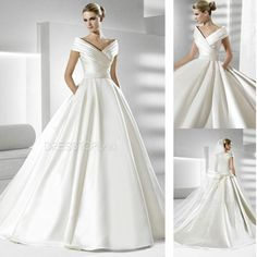 Queen Anne Necklines A-Line Ball Gown Chapel Train Wedding Dress with Embroidery Sash