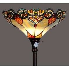 Colorful victorian floor lamp light fixture stained glass 18\