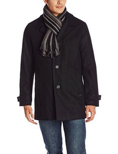 Calvin Klein Men's Car Coat with Scarf, Black, Small Calvin Klein