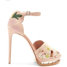 Alexander McQueen Floral-embroidered suede platform sandals (51.710 RUB) via Polyvore featuring shoes, sandals, wing shoes, colorful shoes, colorful sandals, alexander mcqueen shoes и winged sandals