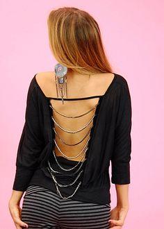 Cheap juniors Drape Chain Back Top (Black)