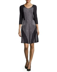 Finale 3/4-Sleeve Twirl Dress, Multi Colors - NIC ZOE