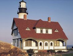 Under clear skies or silhouetted against a gathering storm, Hatteras roofing shingles in Lighthouse Red makes a bold statement: Bring on the weather. Asphalt Roof, Asphalt Shingles, Certainteed Shingles, Roofing Shingles, Red Roof, World Of Color, House Colors, Curb Appeal, Exterior