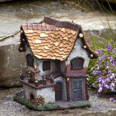 Miniature-Dollhouse-FAIRY-GARDEN-Tudor-Crooked-Creations-Solar-Home-NEW