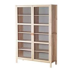 IKEA - BJÖRKSNÄS, Glass-door cabinet with 2 doors, Solid wood is a durable natural stationary shelf for high stability.The shelves are adjustable so you can customize your storage as needed.Glass doors keep your items free from dust but still visible. Display Cabinets Ikea, Kitchen Display Cabinet, Storage Cabinets, Ikea Inspiration, Ikea Solid Wood, Floor To Ceiling Cabinets, Porch Storage, Glass Cabinet Doors, Glass Doors